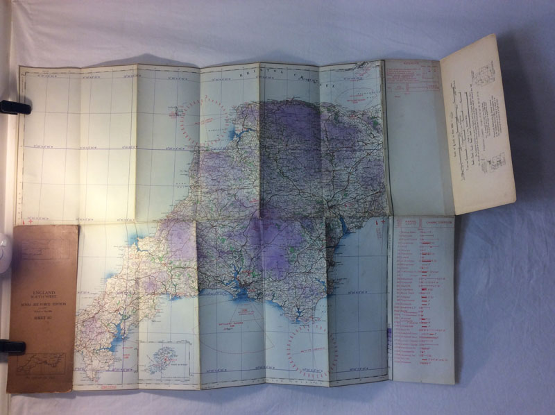 1934 RAF map Sheet 10, England south west, (linen map?)