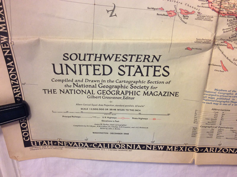 1948 South Western United States map - National Geographic
