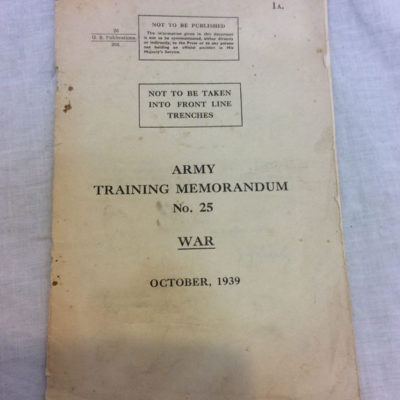 Army Training Memorandum No 25 War October 1939