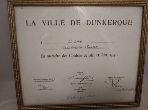 Dunkirk medal evacuation certificate for W LYNN Coldstream Guards