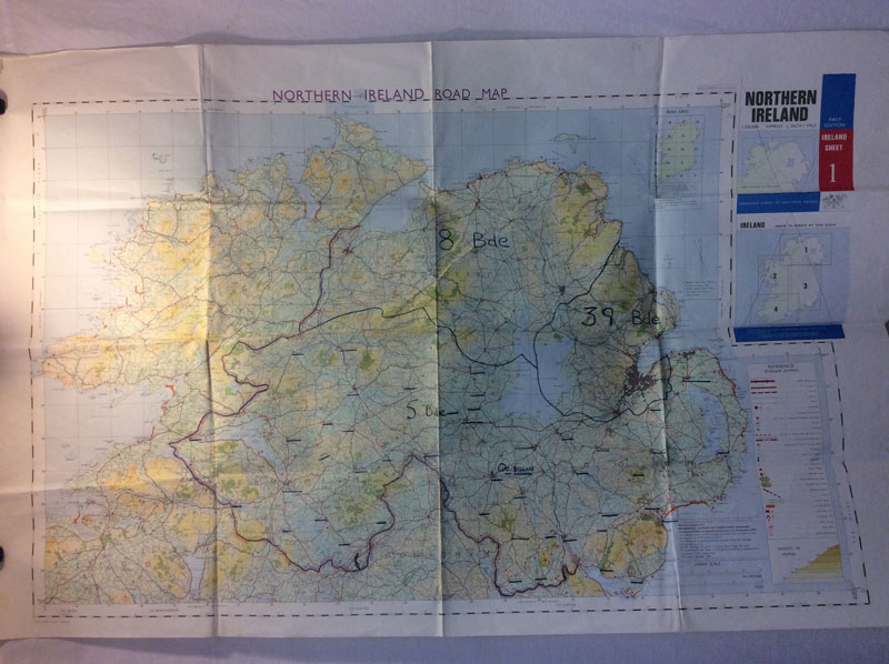 Military Northern Ireland Road Map, 1970