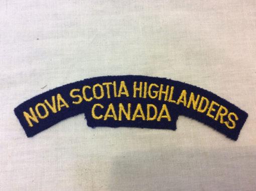 Nova Scotia Highlanders fabric patch badge shoulder title