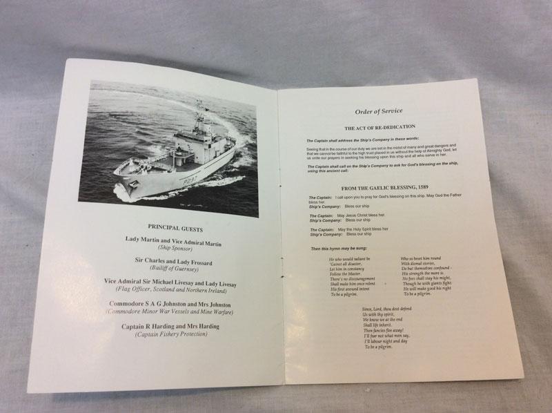 Order of Service HMS Guernsey service of re dedication at Rosyth Royal Dockyard 1990