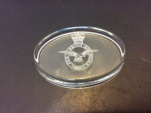 RAF glass paper weight