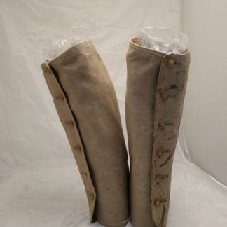 vintage canvas gaiters c1900 white with 6 brown button side fastening