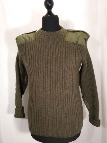 British Army olive green round neck wool jumper with protective cotton shoulder and elbow patches