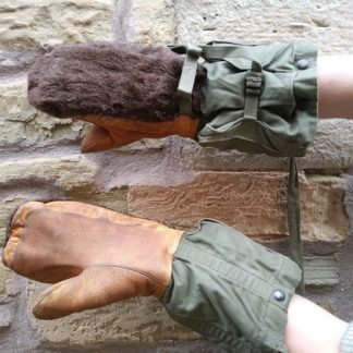 American Extreme cold weather leather palm Alpaca wool mitts