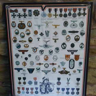 Framed poster 'Decorations of Medals & Badges of the 3rd Reich