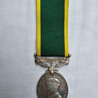 George VI Efficiency medal with Territorial Bar - BDR/Corporal VE Harker 325 288 Royal Artillery