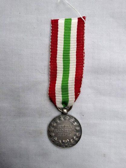 Italo-Turkish Medal 1911-12 Vittorio Emanuele III. Silver Miniature