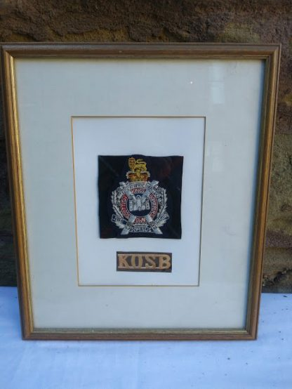 K.O.S.B. Fabric badge on Regimental Tartan square