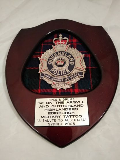 Queensland Police Brigade Regiment Wall Mess Plaque