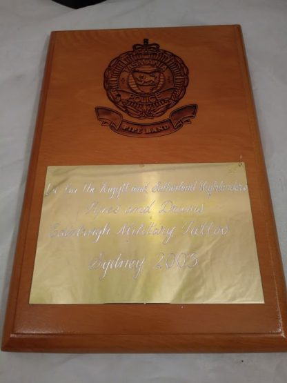 Tasmania Police Brigade Regiment Wall Mess Plaque