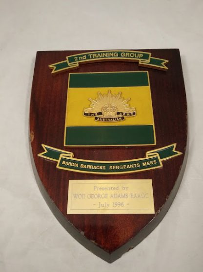 The Australian Army 2nd Training group Bardia barracks sgts Mess Wall Plaque