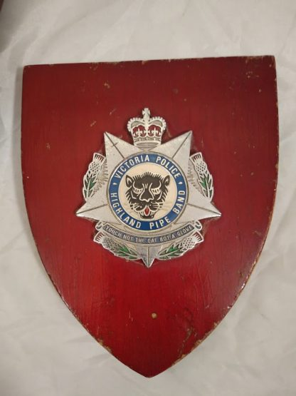Victoria Police Highland Pipe Band Brigade Regiment Mess Wall Plaque