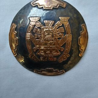 Vintage Peruvian Inca Mayan Aztec design 18ct Rose Gold Brooch pin
