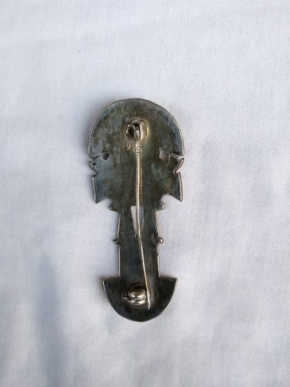 Vintage Peruvian Inca Mayan Aztec design Rose Gold & 925 Silver Brooch pin