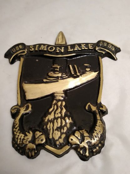 Solid Brass US Navy Ships Plaque USS SIMON LAKE AS33