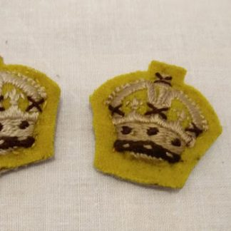 British Army Officer Cloth Rank insignia Kings Crown, on yellow