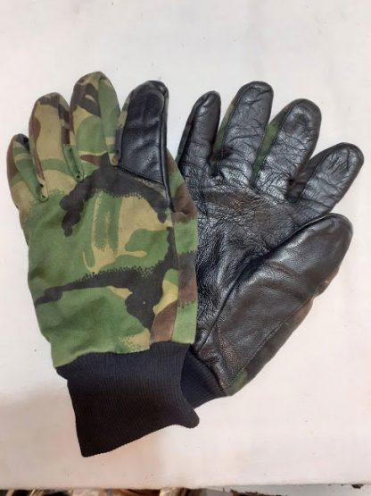 British army leather palm and woodland camo gloves