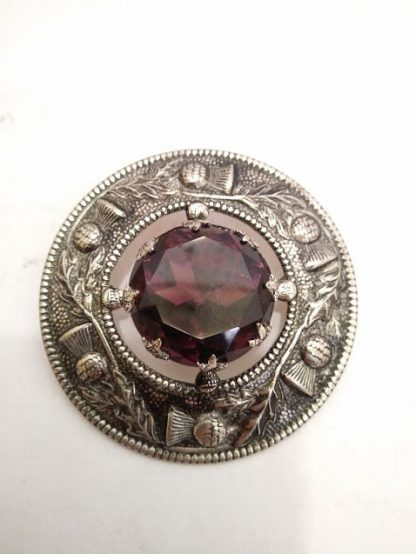 Scottish Brooch with Purple Gem