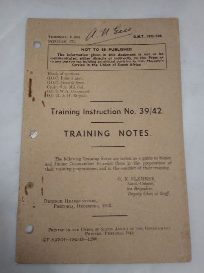 Training Notes Training instruction No 3943 Union of South Africa 1942 booklet